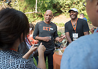 Rob Flot, Vice President for Student Affairs & Dean of Students. Parents meet with Jonathan Veitch and Oxy staff at the President's Reception, Mitchell Garden. Incoming first-years and their families are welcomed by O-Team members and the community at the start of Occidental College's Fall Orientation for the class of 2021, Aug. 24, 2017.<br /> (Photo by Marc Campos, Occidental College Photographer)
