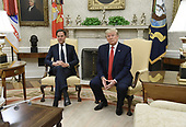 US President Donald Trump meets with Prime Minister Mark Rutte of the Netherlands in the Oval Office of the Washington, D.C., on July 18, 2019. <br /> Credit: Olivier Douliery / Pool via CNP