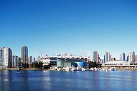 City of Vancouver Skyline, BC Place Stadium (New Retractable Roof completed in 2011), Edgewater Casino, and Rogers Arena, Vancouver, BC, British Columbia, Canada