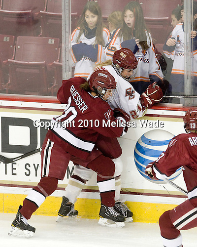 Kate Buesser (Harvard - 20), Andrea Green (BC - 21) - The Boston College Eagles defeated the visiting Harvard University Crimson 6-2 on Sunday, December 5, 2010, at Conte Forum in Chestnut Hill, Massachusetts.