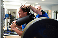 Freddie Burns of Bath Rugby in the gym. Bath Rugby pre-season training on July 2, 2018 at Farleigh House in Bath, England. Photo by: Patrick Khachfe / Onside Images