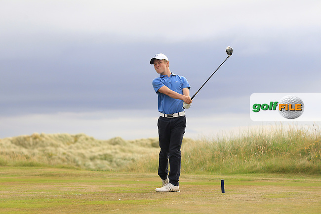 Campbell Rogers (Royal Portrush) on the 18th tee during Round 3 of the Ulster Boys Championship at Castlerock Golf Club on Wednesday 2nd July 2015.<br /> Picture:  Golffile   Thos Caffrey