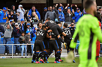 SAN JOSE, CA - FEBRUARY 29: Oswaldo Alanis #4 of the San Jose Earthquakes celebrates scoring with teammates during a game between Toronto FC and San Jose Earthquakes at Earthquakes Stadium on February 29, 2020 in San Jose, California.