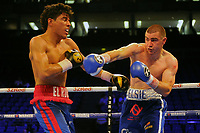 Johnny Garton (blue shorts) defeats Nelson Altamirano during a Boxing Show at the The O2 Arena on 23rd June 2018