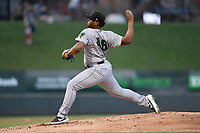 Pitcher Norwith Gudino (48) of the Augusta GreenJackets delivers a pitch in a game against the Greenville Drive on Wednesday, April 10, 2019, at Fluor Field at the West End in Greenville, South Carolina. Augusta won, 9-8. (Tom Priddy/Four Seam Images)