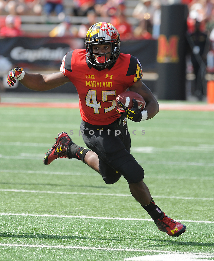 Maryland Terrapins Brandon Ross (45) during a game against the South Florida Bulls on September 19, 2015 at Byrd Stadium in College Park, MD. Maryland beat South Florida 35-17.