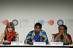 Krishneil Narayan (center) speaks at the Youth Press Conference at COP 15. (Images free for Editorial Web usage for Fresh Air Participants during COP 15. Credit: Robert vanWaarden)