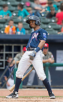 NWA Democrat-Gazette/BEN GOFF @NWABENGOFF<br /> Jecksson Flores, Northwest Arkansas third baseman, reacts while at bat in the 5th inning against Arkansas Wednesday, May 16, 2018, at Arvest Ballpark in Springdale.