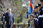 Chilean President Sebastian Pinera inspects the Federation Guard during a ceremonial welcolme at Government House Canberra, Tuesday September 11th 2012. AFP PHOTO / Mark GRAHAM