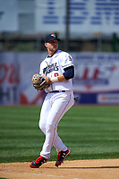 Binghamton Rumble Ponies third baseman David Thompson (8) throws to first base during a game against the Hartford Yard Goats on July 9, 2017 at NYSEG Stadium in Binghamton, New York.  Hartford defeated Binghamton 7-3.  (Mike Janes/Four Seam Images)
