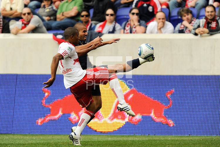 Fred (7) of the Philadelphia Union  and Jeremy Hall (17) of the New York Red Bulls battle for the ball. The New York Red Bulls defeated the Philadelphia Union 2-1 during a Major League Soccer (MLS) match at Red Bull Arena in Harrison, NJ, on April 24, 2010.