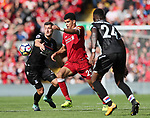 Liverpool's Dominic Solanke tussles with Crystal Palace's Joel Ward during the premier league match at the Anfield Stadium, Liverpool. Picture date 19th August 2017. Picture credit should read: David Klein/Sportimage