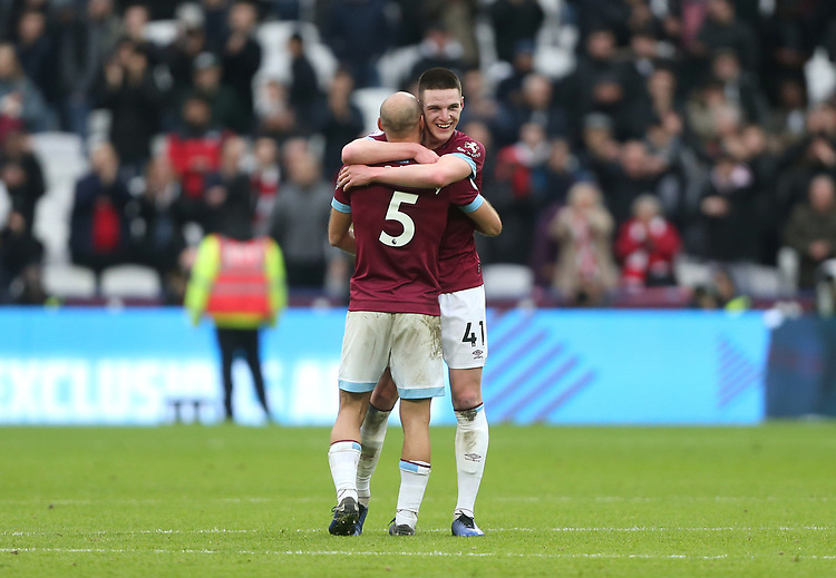 West Ham United's Declan Rice and Pablo Zabaleta celebrate at the end of the game<br /> <br /> Photographer Rob Newell/CameraSport<br /> <br /> The Premier League - West Ham United v Arsenal - Saturday 12th January 2019 - London Stadium - London<br /> <br /> World Copyright © 2019 CameraSport. All rights reserved. 43 Linden Ave. Countesthorpe. Leicester. England. LE8 5PG - Tel: +44 (0) 116 277 4147 - admin@camerasport.com - www.camerasport.com