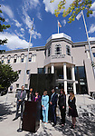 From left rear, Benjamin Lublin, Lise-Lotte Lublin and attorney Gloria Allred listen as Nevada Assemblywoman Irene Bustamante Adams, D-Las Vegas, center, speaks at a press conference in front of the Legislative Building in Carson City, Nev., on Tuesday, May 26, 2015. Gov. Brian Sandoval signed into law Tuesday a bill extending the statute of limitations on sexual assault cases after Lublin and her husband Benjamin Lublin, at left rear, spoke out about Bill Cosby allegedly assaulting her in 1989. <br /> Photo by Cathleen Allison