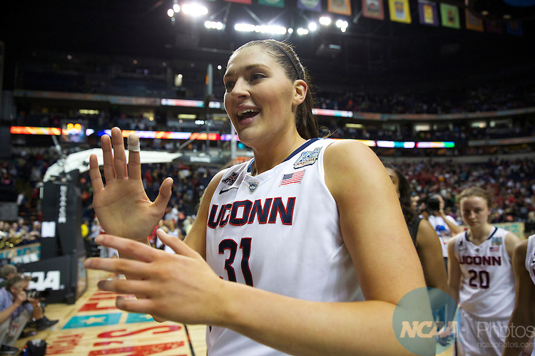 06 Apr 2014:  University of Connecticut center Stefanie Dolson celebrates the Huskies win during the 2014 Division I Women's Final Four in Nashville, TN. Connecticut defeated Stanford 75-56 to move on to the National Championship.  Trevor Brown/NCAA Photos