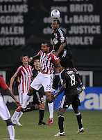 DC United defender Julius James (2) goes up for the header.  Chivas USA defeated DC United 2-0  at RFK Stadium, Saturday October 3, 2009.