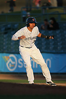 Yonathan Daza (2) of the Lancaster JetHawks leads off of first base during a game against the Rancho Cucamonga Quakes at The Hanger on April 28, 2017 in Lancaster, California. Lancaster defeated Rancho Cucamonga, 16-10. (Larry Goren/Four Seam Images)