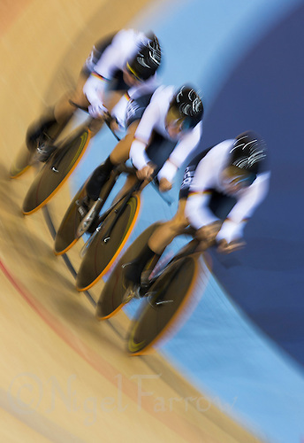 03 AUG 2012 - LONDON, GBR - The team from Germany (GER) race against the clock during the women's Team Pursuit qualifying round at the London 2012 Olympic Games in the Olympic Park Velodrome in Stratford, London, Great Britain (PHOTO (C) 2012 NIGEL FARROW)
