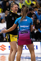 Captains Katrina Grant and Wendy Frew shake hands before the ANZ Premiership netball grand final between the Central Pulse and Southern Steel at Arena Manawatu in Palmerston North, New Zealand on Sunday, 12 August 2018. Photo: Dave Lintott / lintottphoto.co.nz