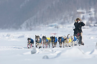 Hans Gatt on the Yukon River shortly after leaving the village checkpoint of Ruby in Interior Alaska during the 2010 Iditarod