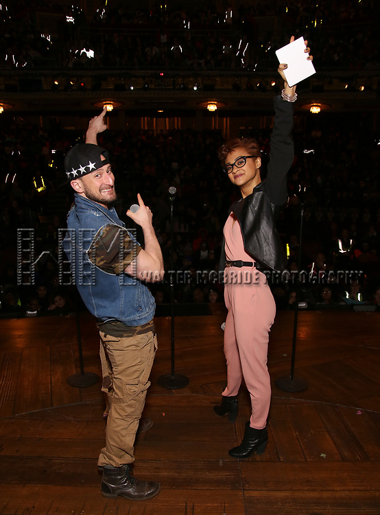 "Roddy Kennedy and Syndee Winters attend The Rockefeller Foundation and The Gilder Lehrman Institute of American History sponsored High School student #EduHam matinee performance of ""Hamilton"" at the Richard Rodgers Theatre on 3/15/2017 in New York City."