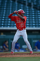 AZL Angels Trent Deveaux (17) at bat during an Arizona League game against the AZL Cubs 1 on June 24, 2019 at Sloan Park in Mesa, Arizona. AZL Cubs 1 defeated the AZL Angels 12-0. (Zachary Lucy / Four Seam Images)