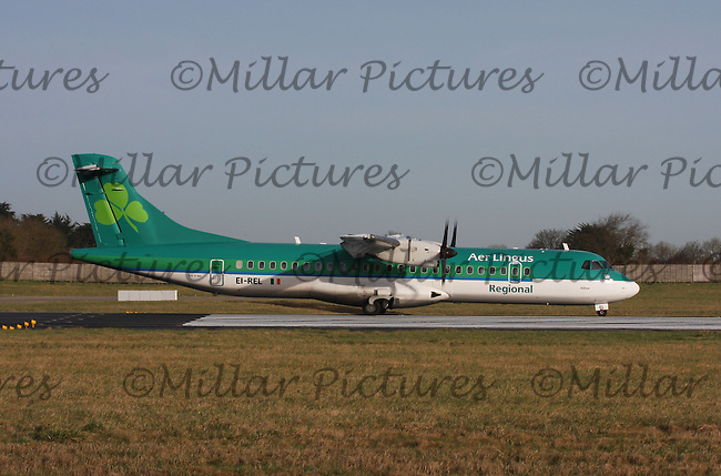 An Aer Lingus Regional Aerospatiale ATR72-212A Registration EI-REL named Eithne taking off at Dublin Airport on 8.2.11.