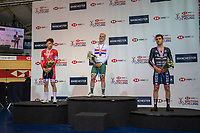 25th January 2020; National Cycling Centre, Manchester, Lancashire, England; HSBC British Cycling Track Championships; Men's points final medallists , Will Roberts (L) Silver, Rhys Britton (C) Gold, Will Perrett (R) Bronze
