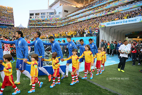 Brazil team group, <br /> JUNE 12, 2014 - Football /Soccer : <br /> 2014 FIFA World Cup Brazil <br /> Group Match -Group A- <br /> between Brazil 3-1 Croatia <br /> at Arena de Sao Paulo, Sao Paulo, Brazil. <br /> (Photo by YUTAKA/AFLO SPORT) [1040]