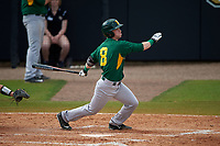 Siena Saints left fielder Dan Lowndes (8) at bat during a game against the UCF Knights on February 21, 2016 at Jay Bergman Field in Orlando, Florida.  UCF defeated Siena 11-2.  (Mike Janes/Four Seam Images)