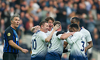 Spurs Legends players celebrating Teemu Tainio goal during the Tottenham Hotspur Legends v Inter Milan Legends during the 2nd test event at Tottenham Hotspur Stadium, High Road, London, England on 30 March 2019. Photo by Andrew Aleksiejczuk / PRiME Media Images.