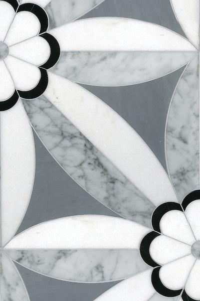 Edie Stone Mosaic shown in Nero, Bardiglio, Thassos and Carrara.