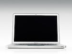 Apple Macbook Pro laptop computer front view with blank screen isolated on white background with clipping path