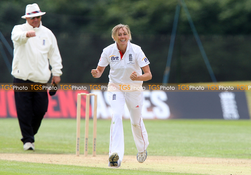 L Marsh of England celebrates taking the wicket of A Blackwell LBW - England Women vs Australia Women, Day 4 of Womens Ashes Test Match Series at Wormsley - 14/08/13 - MANDATORY CREDIT: Rob Newell/TGSPHOTO - Self billing applies where appropriate - 0845 094 6026 - contact@tgsphoto.co.uk - NO UNPAID USE