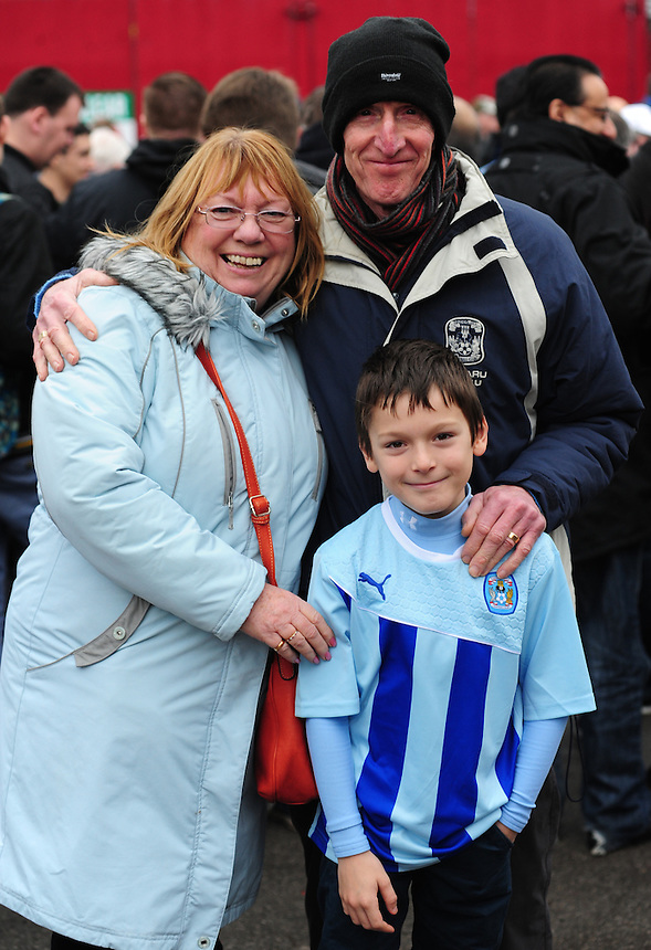 Coventry City fans arrive at Oakwell Stadium ahead of their side's FA Cup game against Barnsley<br /> <br /> Photo by Chris Vaughan/CameraSport<br /> <br /> Football - FA Challenge Cup Third Round - Barnsley v Coventry City - Saturday 4th January 2014 - Oakwell Stadium - Barnsley<br /> <br />  &copy; CameraSport - 43 Linden Ave. Countesthorpe. Leicester. England. LE8 5PG - Tel: +44 (0) 116 277 4147 - admin@camerasport.com - www.camerasport.com