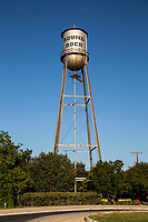 The historic Round Rock water tower is an icon that was originally constructed in 1935 by the Pittsburgh-Des Moines Steel Company.  It is a 50,000 gallon riveted steel tank that stands approximately 140 feet in height.  The tank was taken out of commission as a water tank in 1986 and has since served as an iconic symbol of historic downtown Round Rock.