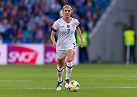 LE HAVRE,  - JUNE 20: Abby Dahlkemper #7 dribbles during a game between Sweden and USWNT at Stade Oceane on June 20, 2019 in Le Havre, France.