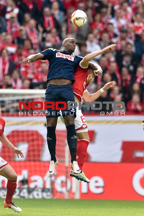 17.04.2016, Coface-Arena, Mainz, GER, 1. FBL, 1. FSV Mainz 05 vs. 1. FC Koeln, im Bild: Anthony Modeste (#27, 1. FC Koeln) gegen Danny Latza (#6, FSV Mainz)<br /> <br /> Foto &copy; nordphoto / Fabisch