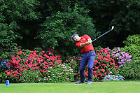 Shane Larkin (Westport) on the 9th tee during the Final of the Junior Cup in the AIG Cups & Shields Connacht Finals 2019 in Westport Golf Club, Westport, Co. Mayo on Thursday 8th August 2019.<br /> <br /> Picture:  Thos Caffrey / www.golffile.ie<br /> <br /> All photos usage must carry mandatory copyright credit (© Golffile | Thos Caffrey)