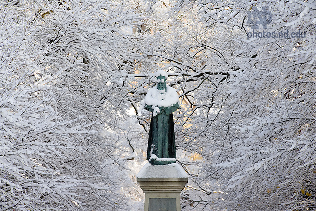 Fr. Sorin statue in snow