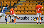 St Johnstone v Blackpool...25.07.15  McDiarmid Park, Perth.. Pre-Season Friendly<br /> Jim McAlister scores for Blackpool<br /> Picture by Graeme Hart.<br /> Copyright Perthshire Picture Agency<br /> Tel: 01738 623350  Mobile: 07990 594431
