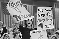 August 21st 1972, Miami, Florida, USA. A young supporter attending the 1972 30th Republican Convention in Miami, in support of President Richard Nixon. Nixon is campaigning for presidential re-election against the South Dakota Democrat Senator George S. McGovern.