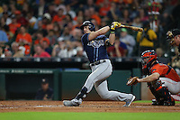 HOUSTON, TX - AUGUST 26:  Evan Longoria #3 of the Tampa Bay Rays bats against the Houston Astros during the game at Minute Maid Park on Friday, August 26, 2016 in Houston, Texas. Photo by Brad Mangin