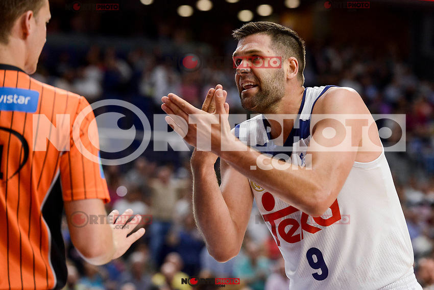 Real Madrid's Felipe Reyes talking with the referee during semi finals of playoff Liga Endesa match between Real Madrid and Unicaja Malaga at Wizink Center in Madrid, June 02, 2017. Spain.<br /> (ALTERPHOTOS/BorjaB.Hojas) /NortePhoto.com