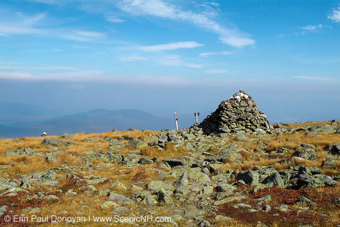 Appalachian Trail - Hiking on the Gulfside Trail approaching Thunderstorm Junction in the Northern Presidential Range of the New Hampshire White Mountains. Haze fills the sky in the background
