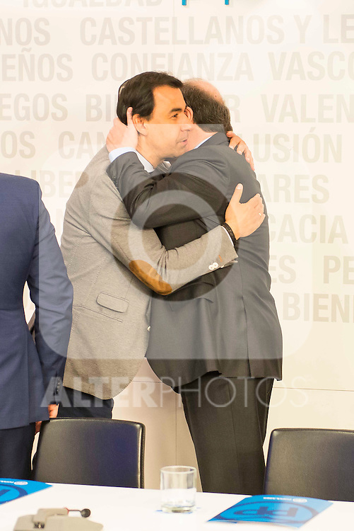 Juan Vicente Herrera and Fernando Martinez Maillo during the meeting with the national executive committee of Partido Popular at Genova in Madrid. May 03, 2016. (ALTERPHOTOS/Borja B.Hojas)