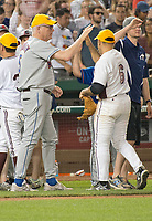 United States Representative Joe Crowley (Democrat of New York), left, celebrates his team's 11 - 2 victory in the 56th Annual Congressional Baseball Game for Charity where the Democrats play the Republicans in a friendly game of baseball at Nationals Park in Washington, DC on Thursday, June 15, 2017. Photo Credit: Ron Sachs/CNP/AdMedia