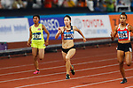 Chisato Fukushima (JPN), <br /> AUGUST 25, 2018 - Athletics : <br /> Women's 100m Qualification <br /> at Gelora Bung Karno Main Stadium <br /> during the 2018 Jakarta Palembang Asian Games <br /> in Jakarta, Indonesia. <br /> (Photo by Naoki Morita/AFLO SPORT)
