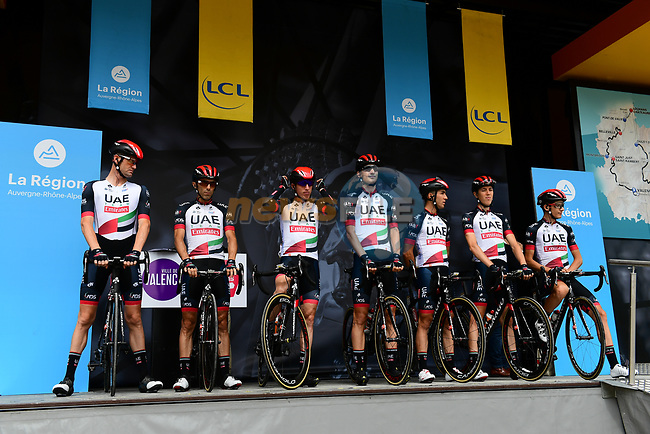 UAE Team Emirates introduced on stage at sign on before Stage 1 of the 2018 Criterium du Dauphine 2018 running 179km from Valence to Saint-Just-Saint-Rambert, France. 4th June 2018.<br /> Picture: ASO/Alex Broadway | Cyclefile<br /> <br /> <br /> All photos usage must carry mandatory copyright credit (© Cyclefile | ASO/Alex Broadway)