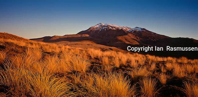 Sun setting on Mount Ruapehu, Tongariro National Park,located in central North Island, New Zealand